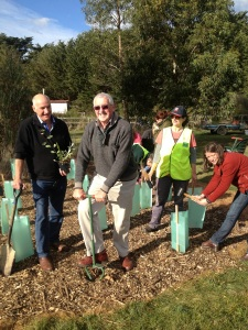 L-R: Cr John Letchford, Cr John Connor, Kate Daniel Woodend Landcare and Cr Jennifer Anderson