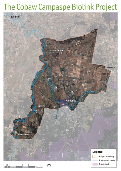 This map shows the approximate area of the Cobaw Campaspe Biolink Project.