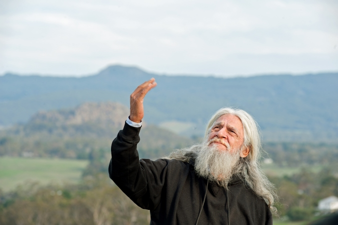 Taungurung Elder and story teller Uncle Larry Walsh speaks of the importance of looking after the land from an indigenous perspective at a recent Field Day organized by the Upper Campaspe Landcare Network.Pic by Sandy Scheltema