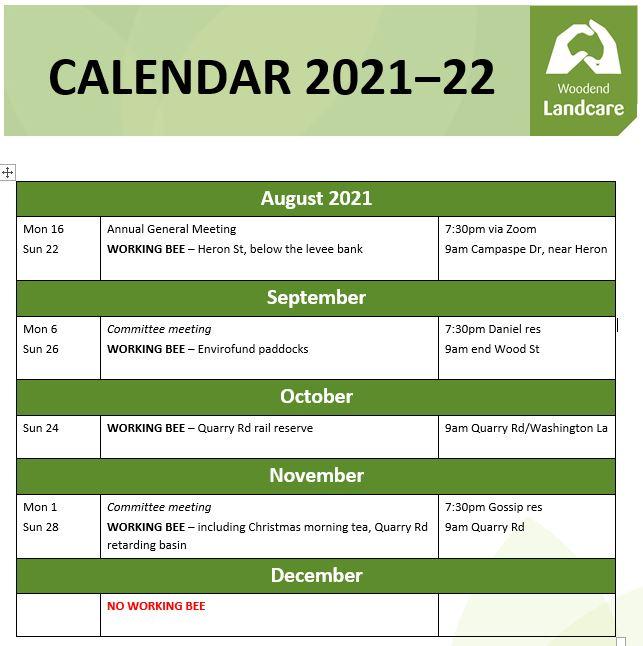 calander july-dec 2021