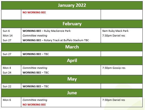 Calendar jan-june 2022